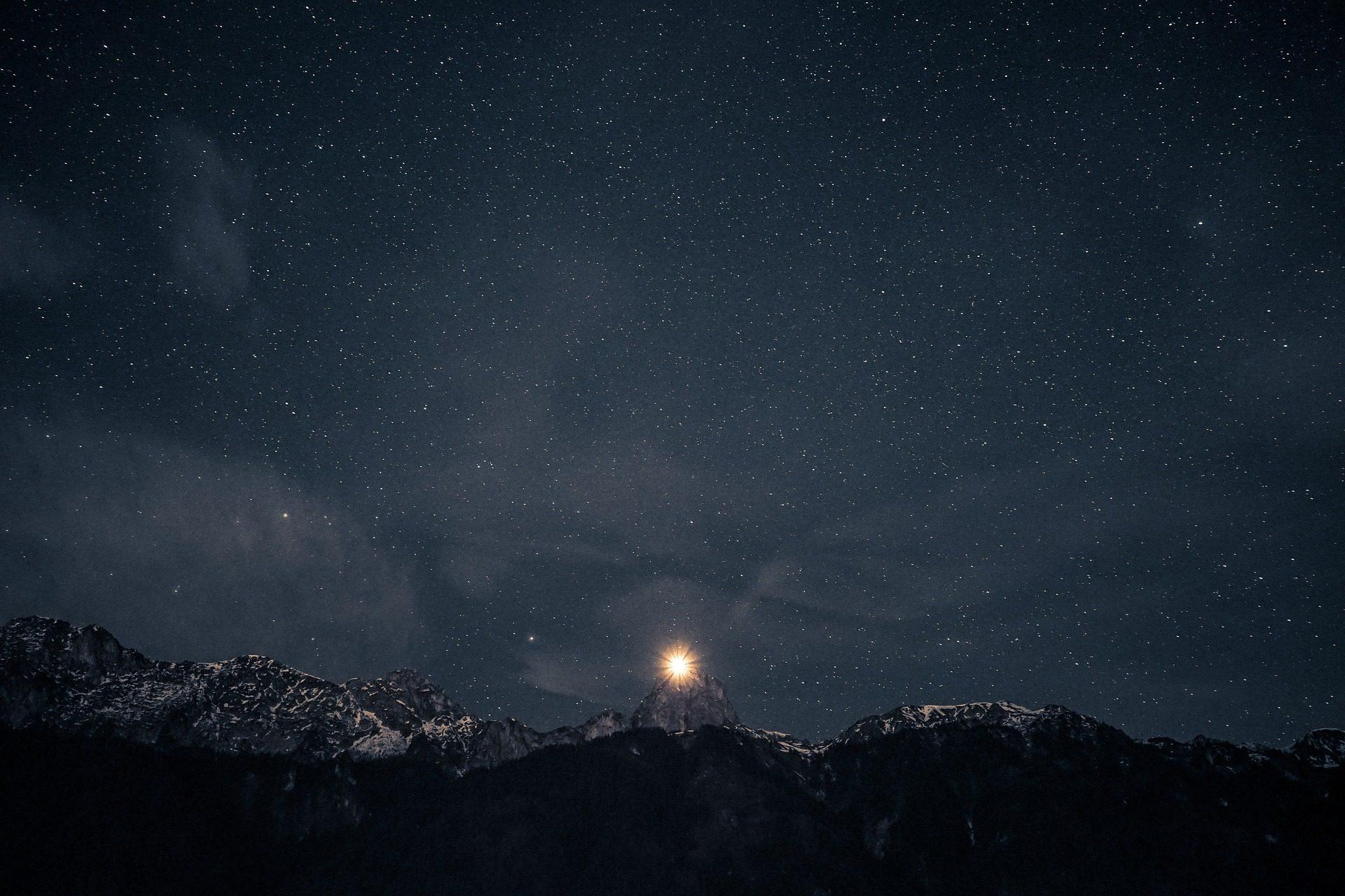 ليلة, نجمة, السماء, الظلام, الجبال, الضوء, سطوع - خلفيات عالية الدقة - أستاذ falken.com