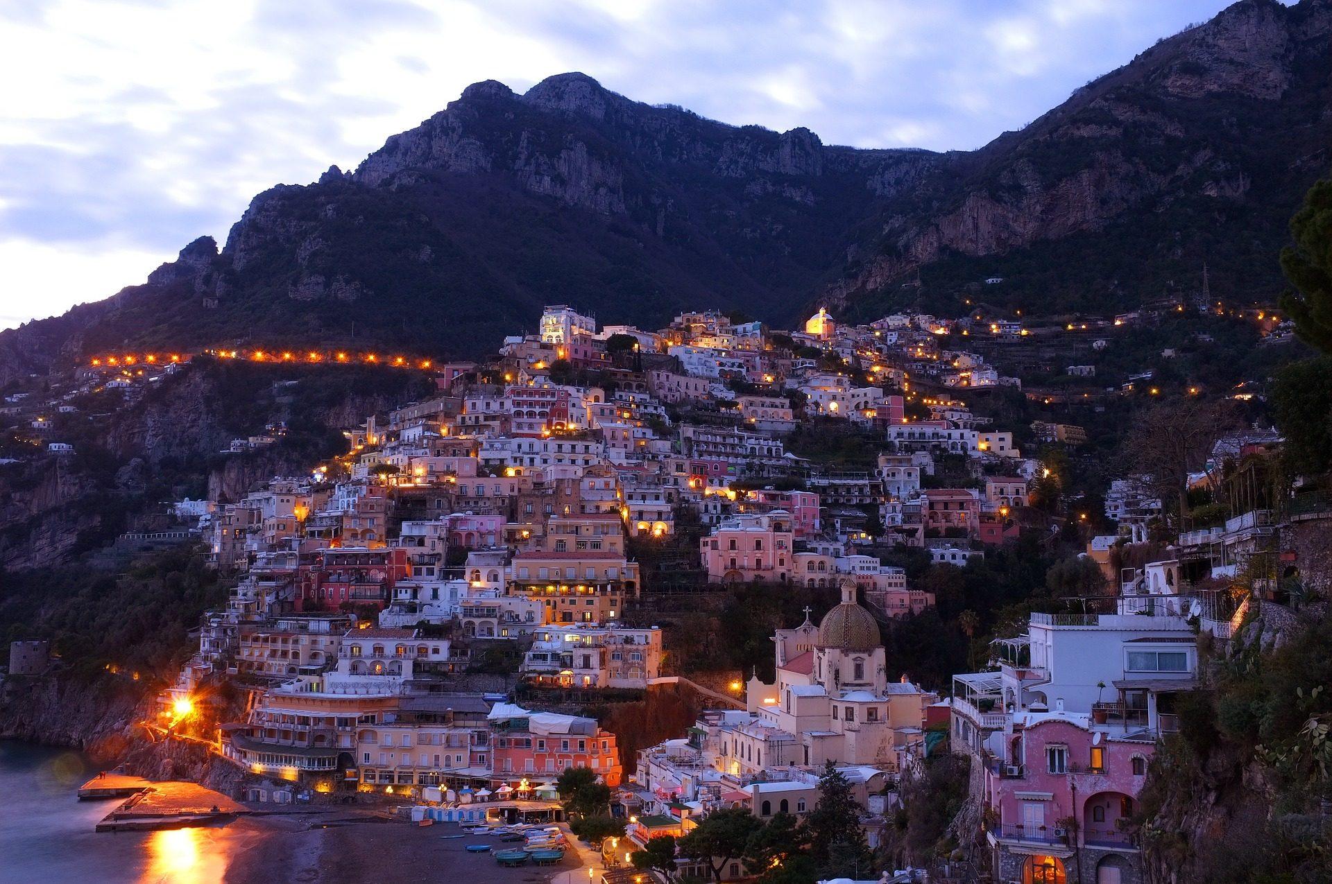 Villaggio, Costa, crepuscolo, luci, Case, cinque terre, italia - Sfondi HD - Professor-falken.com