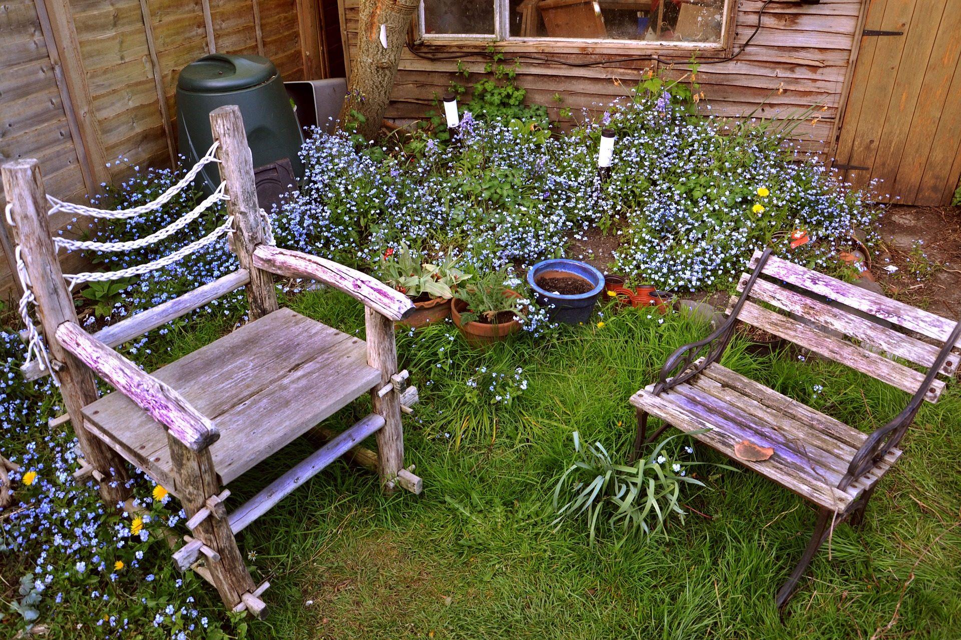 كراسي, الخشب, حديقة, الأواني, الزهور, كابانا - خلفيات عالية الدقة - أستاذ falken.com